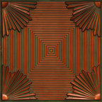 "Curtain Up - Faux Tin Ceiling Tile - 24""x24"" - #229 (patina Copper) -"