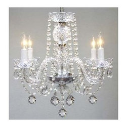 Gallery - Gallery T40-128 Murano Venetian 4 Light 1 Tier Crystal Candle Style Chandelier - Features: