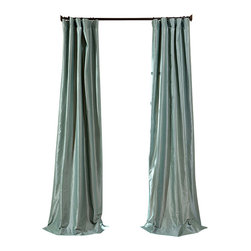 "Exclusive Fabrics & Furnishings, LLC - Robins Egg Faux Silk Taffeta Curtain - 56% Nylon & 44% Polyester. 3"" Pole Pocket with Hook Belt. Lined. Interlined. Imported. Weighted Hem. Dry Clean Only. SOLD PER PANEL."