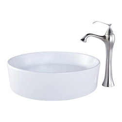 Kraus - Kraus C-KCV-140-15000BN White Round Ceramic Sink and Ventus Faucet - Add a touch of elegance to your bathroom with a ceramic sink combo from Kraus