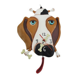 Allen Designs - Allen Designs `Buckley` Dog Pendulum Wall Clock - This bone-headed hound wags not his tail but his long red tongue for a treat. This hand painted wall clock has a unique whimsically surreal design that is simply charming. Made from cold cast resin, the remarkable clock measures 12 inches tall, 9 inches wide, and 2 1/2 inches deep. A metal bracket on the back side allows the clock to hang from one screw or wall hanger. The Quartz clock movement runs on 1 AA battery (not included) and swings an electromagnetic-controlled pendulum, in the shape of a tongue, 2 inches below the bottom of the clock. This splendid clock makes an excellent contemporary art home accent with a unique design that must be adored.