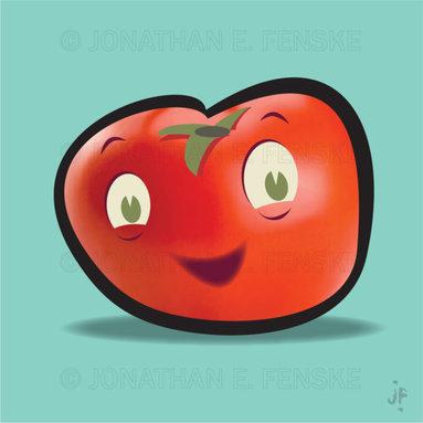 Happy Tomato in Blue Modern Art Canvas -