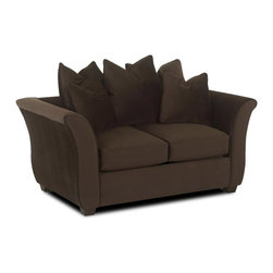 Klaussner - Contemporary Loveseat in Chocolate - Blown fiber upholstery with belsire pattern. Box style seat cushions. High profile flared arms. Welt tailoring and scatter, loose back pillows. Made in USA. Seat: 46 in. L x 25 in. W x 20 in. H. Overall: 68 in. L x 39 in. W x 30 in. H (103 lbs. ). The exceptional versatility of our Voodoo collection lets you create intimate conversation area or expansive seating arrangement.