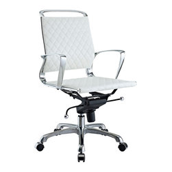 LexMod - Vibe Modern Leather Midback Office Chair in White - Instill some panache to your office with a chair that says it all. Vibes modern style reverberates from start to finish. From its diamond patterned leather seat and back, to its high polished chrome frame, if ever there was a chair that turned seating into an artform it would be Vibe.