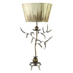 Flambeau Lighting - Flambeau Lighting TA1045 Single Light Buffet Lamp - Kristal Single Light Buffet Lamp with Decorative Jeweled BranchesThis transitional buffet lamp features an inverted putty color acid washed shade and delicate gold leaf branches that spike cut glass jewels on a gold leaf metal stem.Whether as an art gallery director, sculptor, or designer of fine jewelry, Paul Gr�er a resident of the �Big-Easy� and his work, have for years been an integral part of the New Orleans art scene. Paul Gr�er's �FLAMBEAU Lighting Collection� is a gallery of sculptural, functional art that manifests itself in the form of table lamps, floor lamps, chandeliers, pendants, mirrors and sconces that are certain to add intrigue to any interior design.Features: