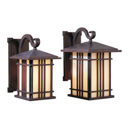 Murray Feiss - Murray Feiss Prairie House Transitional Outdoor Wall Sconce X-PW1081LO - A stylish blend of traditional elements with mission inspired styling and a hint of Asian influencing, this Murray Feiss outdoor wall sconce is sure to please. From the Prairie House Collection, it features a single scrolling arm and lantern shape highlighted by a stylish Weathered Patina finish. White opalescent art glass panels add the perfect finishing touch.
