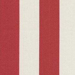 Orien Textile - Deck Stripe - Outdoor Fabric, Red & White - This great outdoor fabric is stain and water resistant, perfect for outdoor settings and indoors in sunny rooms. It is fade resistant up to 500 hours of direct sun exposure. Create decorative toss pillows, chair pads, tabletop and tote bags. To maintain the life of the fabric bring indoors when not in use. This fabric can easily be cleaned by wiping down or hand washing with warm water and a mild soap solution, simply rinse with clear water to prevent dirt from embedding itself into the fabric.
