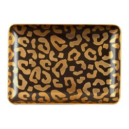 "L'Objet - L'Objet Leopard Rectangular Desk Tray - Meticulously handcrafted from select metals and Limoges porcelain, L'Objet Desk Accessories comprise a whimsical collection that is complex in color, rich in texture, and global in design. 24K Gold Hand-applied DecalMeasures: 5"" x 7"" / 13cm x 18cm 'Genuine Limoges Porcelain Luxuriously Gift Boxed. L'Objet is best known for using ancient design techniques to create timeless, yet decidedly modern serveware, dishes, home decor and gifts."