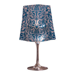 Modgy - Lumizu Wine Glass Shade ChaCha Blue - Creating instant elegance is easy with LUMIZU Wine Glass Shades. These wine glass lamp shades are crafted from durable, frosted plastic and slide easily over water-filled wine glasses. No assembly required. LUMIZU Wine Glass Shades fit over any standard