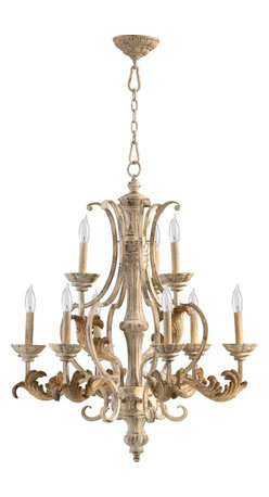 Quorum Lighting - Quorum Lighting Florence Traditional Chandelier X-07-9-7306 - The heavier detailing recreates the look of an old fashioned wood chandelier from centuries past with this Quorum Lighting chandelier. This traditional chandelier from the Florence Collection draws its inspiration from European styles, with eye-catching leaves and other fine details finished in Persian White.