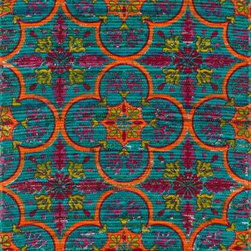 "Loloi Rugs - Loloi Rugs Aria Collection - Blue / Orange, 2'-3"" x 3'-9"" - Expressive and relaxed, stylish and fun. The Aria Collection from India has it all. Pretty paisley patterns, flourishing flowers, dreamy damasks and magical medallion designs are printed onto 100% recycled cotton Chindi for scatter rugs that are flirty and fashionable. Dressed in a palette of bold, saturated colors that take you from cool blues and pinks to warm spice tones and modern tropical hues, too, Aria rugs come in select scatter sizes that will accent choice spaces with flair."