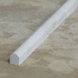 Beige Honed Travertine Pencil Decorative Molding Bull Nose Trim - .5 in. x 12 in. Beige Honed Travertine Pencil Decorative Molding Bull Nose Trim is a great way to enhance your decor with a traditional aesthetic touch. This listello molding is constructed from durable, impervious travertine material, comes in a smooth, unglazed finish and is suitable for installation on kitchen backsplash, finish wall tile, molding, shower wall, ceramic tile in commercial and residential spaces.