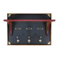 Authentic Models - Chelsea Coat Hanger - Dress up your entryway with a coat hanger complete with brass hooks and name plates for each member of the family. Matches the Chelsea Boot Chest in style and color.