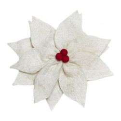 Arcadia Home - Felt Poinsettia Cream Christmas Tree Topper - Put this beautiful symbol of Christmas atop your tree this year. A lovely floral heirloom to pay down through the generations. In hand felted 100% wool.