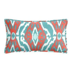 "Cushion Source - Turquoise and Coral Ikat Lumbar Pillow - The 20"" x 12"" Turquoise and Coral Ikat Lumbar Pillow features an ethnically-inspired print in vibrant aqua, peach, and white."