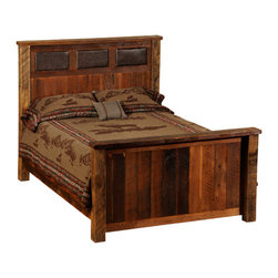 "Fireside Lodge - Fireside Lodge Reclaimed Wood and Leather Bed, California King Size - A  reclaimed  wood  bed, california king size,  with  an  Urban  Rustic  look,  this  rustic  barnwood  bed  features  a  masculine  headboard  inset  with  high-quality  leather.          Picture  this  rustic  bed  with  a  peacock  teal  leather,  or  faux  alligator  hide  in  place  of  the  dark  chocolate  leather  you  see  in  this  image.  This  option  gives  you  the  freedom  to  design  in  some  extra  color  and  texture,  making  yours  a  truly  one-of-a-kind  piece.          Built  with  reclaimed  red  oak  barnwood  salved  from  barns  or  buildings  constructed  in  the  late  1800s,  the  headboard  and  footboard  feature  parallel  slats  of  reclaimed  rustic  wood  placed  end  to  end.  Artisans  carefully  color  match  each  slat  to  make  sure  that  there  is  an  attractive  variation  of  light  and  dark  barnwood  panels,  each  with  a  natural  patina.  The  headboard  design  includes  inlaid  rectangles  of  leather  or  faux  leather.  A  finish  of  dull  catalyzed  lacquer  preserves  the  durability  and  character  of  the  wood.  Each  handcrafted  piece  of  reclaimed  wood  furniture  is  built  to  last  for  decades,  with  a  limited  lifetime  warranty  against  defects.          For  additional  under-bed  storage,  consider  adding  an  underbed  dresser  with  drawers.                  Dimensions  vary  according  to  size.  (See  chart  below)              Hardwood  bed  rails  provide  support  and  sturdy  construction              T-support  is  standard  in  Queen  and  King  sizes              Several  styles  of  leather  or  faux  leather  to  choose  from.  Click  to  choose  your  color.                Choose  from  antique  oak  or  vintage  cedar  finish  stain  colors              Matching  Nightstand  with  a  leather  inset  top  is  also  available.              Dull  catalyzed  lacquer  finish              Limited  lifetime  guarantee              Purchase  as  a  complete  bed,  as  a  platform  bed,  or  buy  only  the  headboard.              Headboard  height  -  60  inches  tall              Footboard  height  -  35  inches  tall              Free  curbside  shipping.                Made-to-order;  Allow  4-6  weeks  for  shipping                      Complete  Standard  Bed  -  Leather  Inset  Barnwood  Bed                                    Size                      Model                      Dimensions                      Weight                      Price                                      King                      B10014                      83Wx91Lx60H                      310                      2229.00                                      California  King                      B10014-CK                      77Wx96Lx60H                      295                      2229.00                                      Queen                      B10044                      65Wx91Lx61H                      260                      1969.00                                      Full  (Double)                      B10074                      59Wx86Lx60H                      230                      1909.00                                      Twin  (Single)                      B10104                      44Wx86Lx60H                      190                      1719.00                                               Complete  Platform  Bed  -  (mattress  rests  on  a  raised  barnwood  platform  -  no  footboard)                                    Size                      Model                      Dimenisons                      Weight                      Price                                      King                      B10014-PF                      83Wx89Lx53H                      510                      2459.00                                      California  King                      B10014-CK-PF                      77Wx94Lx55H                      495                      2459.00                                      Queen                      B10044-PF                      65Wx89Lx53H                      430                      2249.00                                      Full  (Double)                      B10074-PF                      59Wx84Lx53H                      370                      2139.00                                      Twin  (Single)                      B10104-PF                      44Wx84Lx53H                      320                      2009.00                                               Headboard  Only  (Includes  Rails)                                    Size                      Model                      Dimensions                      Weight                      Price                                      King  Headboard                      B10024                      83""Wx60H                      185                      1229.00                                      California  King  Headboard                      B10024-CK                      77""Wx60H                      180                      1229.00                                      Queen  Headboard                      B10054                      65""Wx60H                      165                      1079.00                                      Full  (Double)  Headboard                      B10084                      59""Wx60""H                      150                      1059.00                                      Twin  (Single)  Headboard                      B10114                      44Wx60H                      130                      949.00"