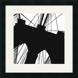 Amanti Art - Brooklyn Bridge Silhouette (Detail) Framed Print by Erin Clark - City dwellers as well as those who merely dream of the Big Apple will be smitten with this sophisticated representation of the Brooklyn Bridge. Bring a bit of urban flair to your office or den with Erin Clark's awe inspiring modern style.