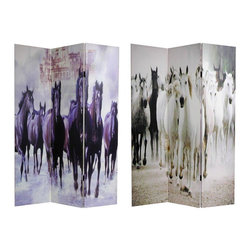 Oriental Furniture - 6 ft. Tall Double Sided Horses Canvas Room Divider - Powerful imagery, stunning eye-level photos of a herd of black horses on one side and a herd of white horses on the other. Moving, beautiful photos, printed onto portable, durable, 3 panel canvas room dividers.