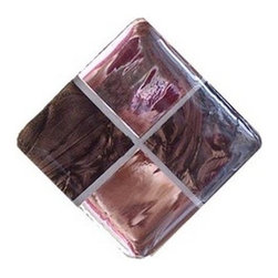 Glace Yar - Pink Champagne - Four Tile Glass Cabinet Knob, Satin Nickel - A contrast of light meets dark using a Pale Pink Mirrored Glass and Champagne Van Gogh Glass with light beige grout.   Clean with a soft cloth and window cleaner. Because items are made to order, this can result in longer lead times.