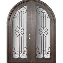 "Milano 72x96 Round Top Wrought Iron Double Door 14 Gauge Steel - ""SKU#    PHBFMRTDR4Brand    GlassCraftDoor Type    ExteriorManufacturer Collection    Buffalo Forge Steel DoorsDoor Model    MilanoDoor Material    SteelWoodgrain    Veneer    Price    8665Door Size Options      $Core Type    one-piece roll-formed 14 gauge steel doors are foam filled  Door Style    Round TopDoor Lite Style    Radius Lite , Full LiteDoor Panel Style    Home Style Matching    Mediterranean , Victorian , Bay and Gable , Plantation , Cape Cod , Gulf Coast , ColonialDoor Construction    Prehanging Options    PrehungPrehung Configuration    Double DoorDoor Thickness (Inches)    1.5Glass Thickness (Inches)    Glass Type    Double GlazedGlass Caming    Glass Features    Insulated , TemperedGlass Style    Glass Texture    Clear , Glue Chip , RainGlass Obscurity    Door Features    Door Approvals    Wind-load RatedDoor Finishes    Three coat painting process"