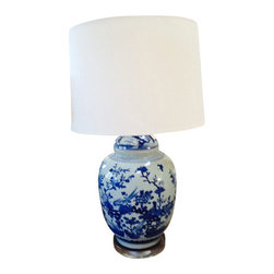 Blue and White Lamp on Lucite Base Plus Shade - Classic design blue and white lamp on Lucite base plus shade.