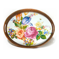 Flower Market Rattan & Enamel Party Tray - White | MacKenzie-Childs - An ample tray for breakfast in bed, a garden party or your personal carry-out, the Flower Market Rattan & Enamel Party Tray begs no occasion, but suits casual and formal fetes alike. Color glazed in black, blue, green or white, each Flower Market Rattan & Enamel Party Tray is decorated with hand-applied fanciful botanical transfers that recall a lush English garden in the peak of summer. As handy as it is handsome, the rattan-accented entertaining tray is perfect for year-round use and just the excuse you needed to host a long-overdue get-together.
