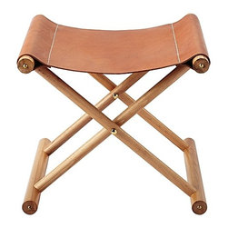 Serena & Lily - Cooper Leather Stool - This little stool is so great. I love the mix of leather and wood.