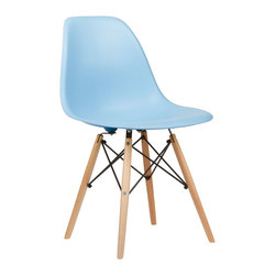 Mid-Century Slope Chair in Powder Blue - Our Mid-Century Slope Chair is an ingenious design inspired by an iconic manufacturing process of the 1950s and 1960s. The original was born out of technological advancements that allowed a chair to be constructed out of a single mold of fiberglass. With the original mold no longer in production, today's designers have improved this process even further, resulting in a comfortable, stylish, lightweight chair. Replacing fiberglass with more eco-friendly polypropylene, the current iteration takes this incredible design and makes it accessible and modern, featuring a smooth polypropylene seat that contours to your body. This chair is also one of our most versatile pieces, fitting in at the dinner table, conference table, or anywhere else you're looking to add some seating.