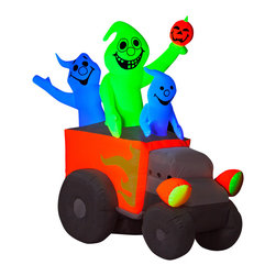 None - Halloween Airblown Inflatable Neon Hot Rod Ghosts - These neon hot rod ghosts give your outdoor decor maximum impact with minimal effort. The inflatable comes with stakes and tethers for quick and easy set up,and collapses down for off-season storage.