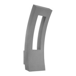 "Modern Form - WS-W2223 Dawn 23"" 24W LED Outdoor Wall Light, Ws-W2223-Gh - Cutting edge abstract design to complement modern architecture. Energy efficient indirect ambient lighting and down lighting creates bright, beautiful spatial illumination for superb security and architectural accent. Dawn provides a distinctive profile that reflects the best in urban refinement and sophistication."