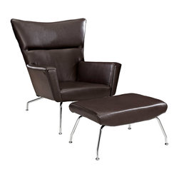 Flight Armchair in Brown - Give your home office an upgrade with this modern take on the wingback. In a classic combo of elegant black leather and chrome, it even includes a matching ottoman for the height of professional comfort.