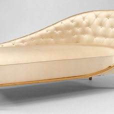 Antique French 1940s sycamore chaise lounge champagne tufted satin upholstry (p.