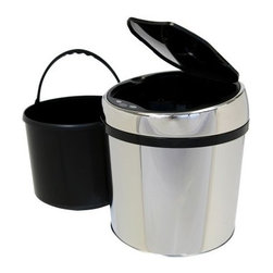 iTouchless IT01RC Trashcan Stainless Steel 1.5 gal. Trash Can - The iTouchless IT01RC Trashcan Stainless Steel 1.5 Gallon Trash Can is the perfect touch-free trash can for a cubicle bathroom or other smaller space. The 1.5-gallon IT01RC trash can is constructed from durable stainless steel with a brushed silver finish. It has a space-saving semi-round shape which holds grocery bags or a 1.5-gallon garbage bag. Its removable top cover allows for easy cleaning. It also helps prevent contamination which reduces the threat of certain illnesses and infections. Uses 4 AA-size batteries (not included). Dimensions: 10 diam. x 11H inches.About iTouchlessiTouchless Housewares & Products creator of the Touchless Trashcan EZ Faucet and Towel-Matic manufactures and distributes a line of innovative products for your home and office. Their mission: to make people's lives a little easier by using their products. Over the last 15 years iTouchless has established a solid foundation and assembled multiple factories in Asia to support the increasing demand of sensor-activated products. Their vision for the future is to create a continuous stream of customer-driven innovations while selecting strategic partners and distributors to form mutually beneficial relationships.