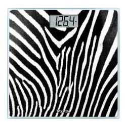 "TAYLOR - TAYLOR 75584193Z Glass Digital Scale (Zebra) - � 400lb capacity in .2lb increments;� 3.23"" x 1.6"" LCD readout;� 12"" x 12"";� 8mm thick tempered-glass platform;� Instant on;� Auto zero;� Includes 2 AAA batteries;�Zebra"