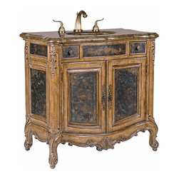 Ambella Home - Winslow Sink Chest - This petite sink chest features mahogany solids with acid wash, etched brass sheeting and a golden agate fossil stone top - all designs of the Winslow collection. Balsa porcelain sink installed.  Imported.