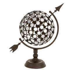Benzara - Metal Mirror Armillary 21in.W, 18in.H Nautical Maritime Decor - Made with metal alloy with mirrored circles Size - 21 in. x10 in. x18 in.