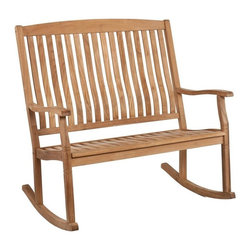Southern Enterprises - Rockfort Teak Double Rocker - This beautiful double rocker with resilient teak construction makes it easy to relax and enjoy the outdoors. A two-seater take on the classic porch rocker is the perfect spot to relax, spread out, or cozy up with a friend!