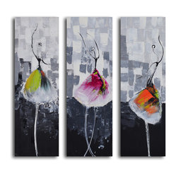 """Tutu Trio"" Hand-Painted 3-Piece Canvas Set"
