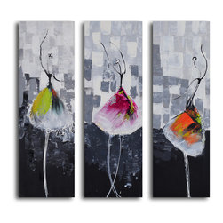 Tutu trio Hand Painted 3 Piece Canvas Set - These three ladies will pirouette right into your heart. Colorful tutus pop out against a backdrop of bold grays producing a dramatic effect. Each hand-painted canvas is museum quality and ready to hang.
