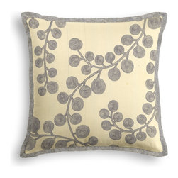 Dark Silver Metallic Swirl Branch Tailored Pillow - The Tailored Throw Pillow is an updated, contemporary pillow style with the center fabric framed by a thin contrast flange.  Voila! -it's artwork for your couch!  We love it in this stunning swirling branch pattern h& printed in metallic pewter gray on cream cotton. a fresh centerpiece to any style room, from contemporary to classic.