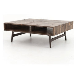 Wesson Reclaimed Oak Wood Coffee Table - Discover our new luxurious mid-century modern inspired Wesson Cocktail tables with exclusive, rustic and smooth artisan finishes. The Wesson Wood Coffee Table is hand-crafted from Heavily distressed thick solid oak wood table top with smooth, splayed dark Roble wood legs, creating a great contrast. While it brings rustic charm and contemporary feel to a room, the open shelf provides a place to stash magazines and books.