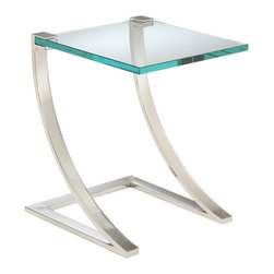 Sterling Industries - Sterling Industries 6040947 Uptown End Table - Gorgeous Heavy Glass Top Grasped By Polished Nickel Frame.  Floating Glass Styling Suitable For Many Decor Settings.  Made Of Metal And 19Mm Glass.  End Table (1)
