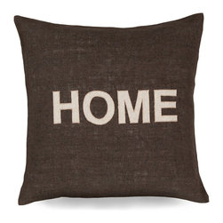 Home Pillow - Boldly stenciled on deep olive-grey jute, the simple word that adorns the Home Pillow connotes yearning, nostalgia, and an unmistakable sense of place. This pillow's unfussy styling and classic capitals unify it with transitional decorative themes, while the texture of the cushion's jute cover is a visually interesting, tactile companion to leather, cotton, or other common upholsteries.