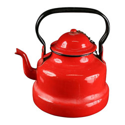 EuroLux Home - Consigned Vintage Vibrant Red Enamelware Water Kettle - Product Details