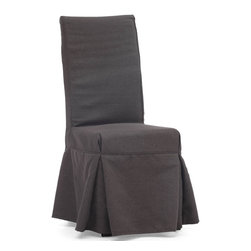 """Tosh Furniture - Newton Chair Charcoal Gray - Set of 2 - Simple and relaxed in design, the Newton chair is a perennial dining room favorite. The slipcover has 4 ties in the back for added flare. The frame is solid wood, molded foam seats, and a beige or charcoal linen fabric cover. Set of 2; Charcoal Gray; Polyester Linen; Hardwood Finish; No assembly required; Overall dimensions: 16.5""""W x 19.7""""L x 40.6""""H; Seat Height: 19.7""""; Seat Depth: 16.7""""; Seat Width: 16.5"""""""