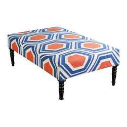 "Surya - Rust and Blue Hexagon Table by Surya - A hexagon pattern is woven in cobalt blue, rust from 100% wool. The solid wood frame is tightly upholstered while nail heads reinforce each corner. The top is left flat to accommodate a display or serving tray. Topped with a white lacquered tray fronting a navy or denim sofa ... out of the box, eye-catching! (SY) 52"" wide x 18"" high x 32"" deep"