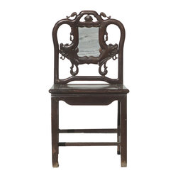 "Golden Lotus - Chinese Antique Ming Dream Marble Style Solid Red Wood SuanZhiMu Chair - This is a Chinese antique Ming style Chair which is made of solid red wood also called ""SuanZhiMu"". Especially, the back has nice carving and dream marble on it."