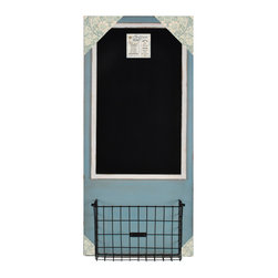 """Enchante Accessories Inc - Distressed Wood Framed Chalkboard with Metal Basket 18"""" x 40"""" (Blue) - This message board features a distressed wooden framed chalkboard with metal basket."""