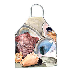 Caroline's Treasures - Sea Shells Apron - Apron, Bib Style, 27 in H x 31 in W; 100 percent  Ultra Spun Poly, White, braided nylon tie straps, sewn cloth neckband. These bib style aprons are not just for cooking - they are also great for cleaning, gardening, art projects, and other activities, too!