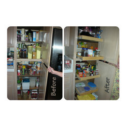 Pull Out Pantry Shelves - Update your pantry with custom pull out shelves from ShelfGenie of Los Angeles and create easier access to everything you store.  Each full extension pull out shelf holds up to 100 pounds.